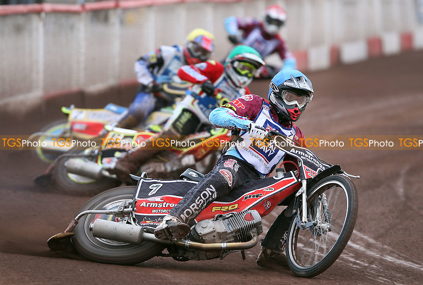 Heat 2: Stuart Robson (blue), Ben Wilson (green), Steve Boxall (yellow) and Phil Morris (red) - Lakeside Hammers vs Poole Pirates, Elite League Speedway at the Arena Essex Raceway, Purfleet - 20/07/09 - MANDATORY CREDIT: Rob Newell/TGSPHOTO - Self billing applies where appropriate - 0845 094 6026 - contact@tgsphoto.co.uk - NO UNPAID USE.