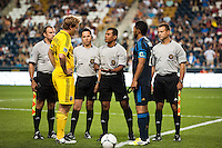 Referee Yader Reyes conducts the coin toss. The Columbus Crew defeated the Philadelphia Union 2-1 during a Major League Soccer (MLS) match at PPL Park in Chester, PA, on August 29, 2012.