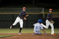 AZL Giants Black second baseman Jose Rivero (2) attempts to turn a double play ahead of Kevon Jackson (16) during an Arizona League game against the AZL Royals at Scottsdale Stadium on August 7, 2018 in Scottsdale, Arizona. The AZL Giants Black defeated the AZL Royals by a score of 2-1. (Zachary Lucy/Four Seam Images)