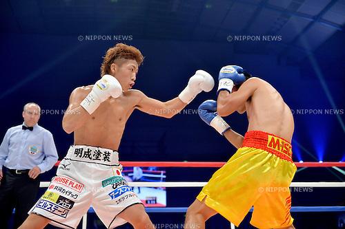 (L-R) Naoya Inoue (JPN), Petchbarngborn Kokietgym (THA),<br /> SEPTEMBER 4, 2016 - Boxing :<br /> Naoya Inoue of Japan in action against Petchbarngborn Kokietgym (Karoon Jarupianlerd) of Thailand during the WBO super flyweight title bout at Sky Arena Zama in Kanagawa, Japan. (Photo by Mikio Nakai/AFLO)