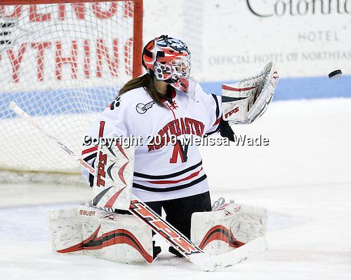 Leah Sulyma (NU - 1) - The University of Connecticut Huskies defeated the Northeastern University Huskies 4-1 in Hockey East quarterfinal play on Saturday, February 27, 2010, at Matthews Arena in Boston, Massachusetts.