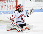 Leah Sulyma (NU - 1) - The University of Connecticut Huskies defeated the Northeastern University Huskies 4-1 in Hockey East quarterfinal play on Saturday, February 27, 2010, at Matthews Arena in Boston, Massachusetts.