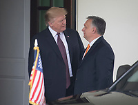 United States President Donald J. Trump welcomes Prime Minister Viktor Orban of Hungary to the White House in Washington, DC on Monday, May 13, 2019.  The two leaders will meet for about an hour. Photo Credit: Ron Sachs/CNP/AdMedia