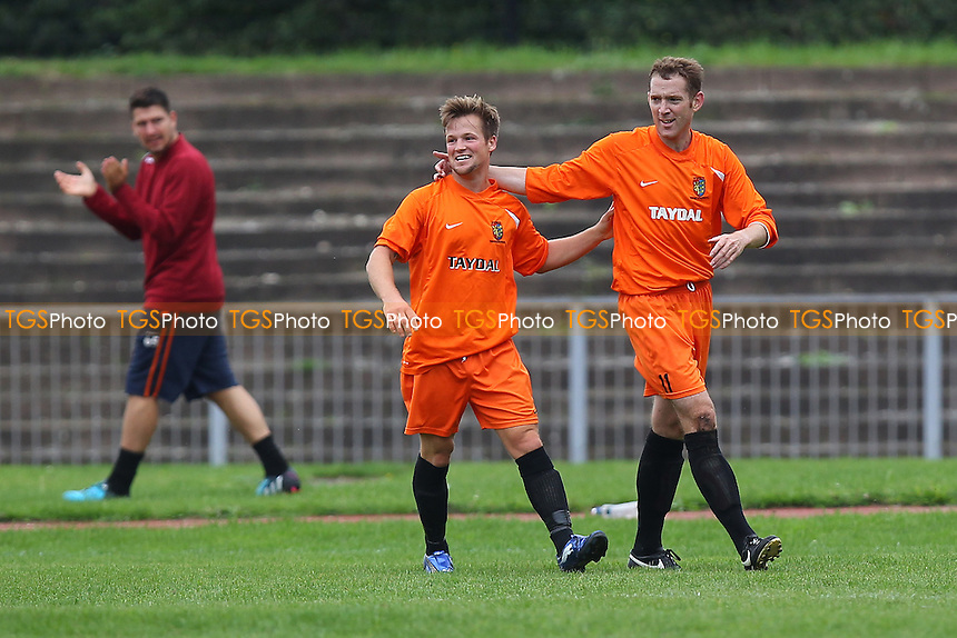 Ross Myhill of Ipswich Wanderers (R) celebrates scoring the first goal during Barkingside vs Ipswich Wanderers, Emirates FA Cup Preliminary Round Football at Cricklefields Stadium, Ilford, England on 30/08/2015