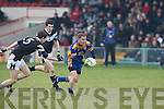 Spa's Conor Gleeson and Maynooth's Sean Kennedy.