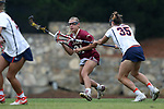 CHAPEL HILL, NC - MAY 12: Elon's Nicole Sinacori (21) and Virginia's Lauren Martin (35). The Elon University Phoenix played the University of Virginia Cavaliers on May 12, 2017, at Fetzer Field in Chapel Hill, NC in an NCAA Women's Lacrosse Tournament First Round match. Virginia won the game 11-9.