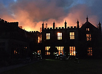 Bmth News (01202 558833)<br /> Pic:  CraigBaker/DWFRS/BNPS<br /> <br /> Phoenix from the flames...<br /> <br /> A stately home which was burnt to the ground three years ago could now be restored after a buyer was finally found for it.<br /> <br /> Grade I listed Parnham House, near Beaminster, Dorset, is now just a charred shell of the magnificent mansion it once was following the fire in April 2017.<br /> <br /> Its previous owner, hedge fund manager Michael Treichl, was arrested on suspicion of arson only to later drown in an apparent suicide. <br /> <br /> The Elizabethan manor, which had been worth £15m before the blaze, was on the market for a cut-price £2.5million due to the scale of the damage of it.<br /> <br /> The price the private individual paid for the 38,000sq ft property has not been disclosed.