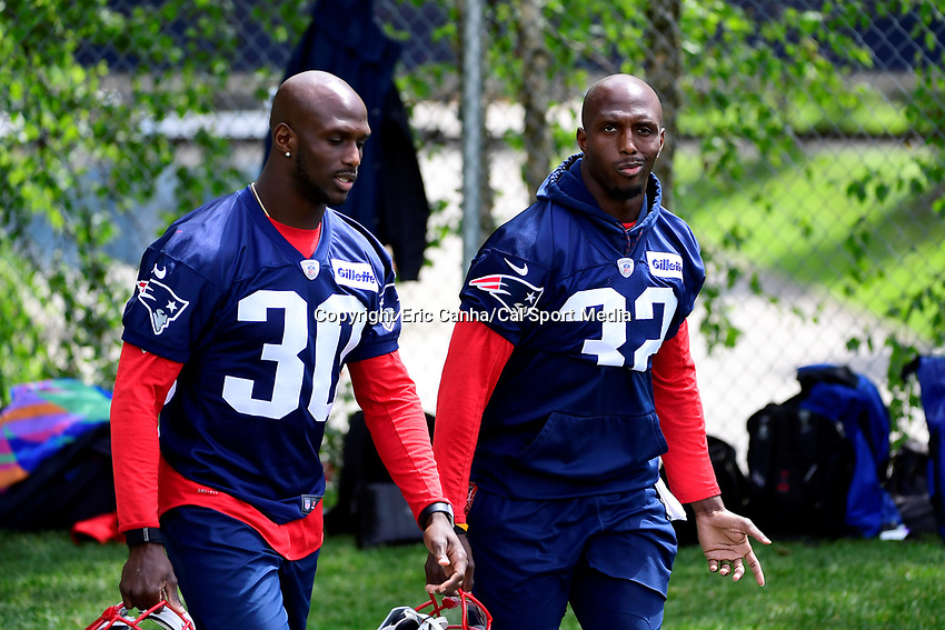 June 5, 2018: New England Patriots defensive back Jason McCourty (30) and his brother, and teammate, defensive end Devin McCourty (32) head tot he practice field at the team's mini camp held on the practice fields at Gillette Stadium, in Foxborough, Massachusetts. Eric Canha/CSM