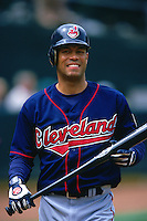 OAKLAND, CA - Roberto Alomar of the Cleveland Indians walks back to the dugout during a game against the Oakland Athletics at the Oakland Coliseum in Oakland, California on April 12, 2000. (Photo by Brad Mangin)