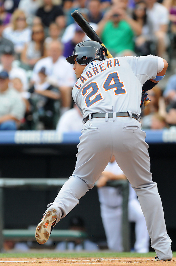 19 JUNE 2011: Detroit Tigers first baseman Miguel Cabrera (24) during a regular season interleage game between the Detroit Tigers and the Colorado Tigers beat the Rockies 9-1.   *****For Editorial Use Only*****