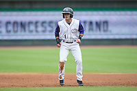 Eddy Alvarez (1) of the Winston-Salem Dash takes his lead off of second base against the Wilmington Blue Rocks at BB&T Ballpark on July 29, 2015 in Winston-Salem, North Carolina.  The Dash defeated the Blue Rocks 5-4 in game one of a double-header.  (Brian Westerholt/Four Seam Images)