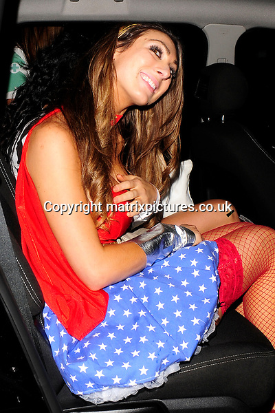 NON EXCLUSIVE PICTURE: MATRIXPICTURES.CO.UK<br /> PLEASE CREDIT ALL USES<br /> <br /> WORLD RIGHTS<br /> <br /> &quot;The Apprentice&quot; reality TV star Luisa Zissman is pictured wearing a Wonder Woman costume to the Mahiki Halloween party in London.<br /> <br /> OCTOBER 31st 2013<br /> <br /> REF: ASI 137102