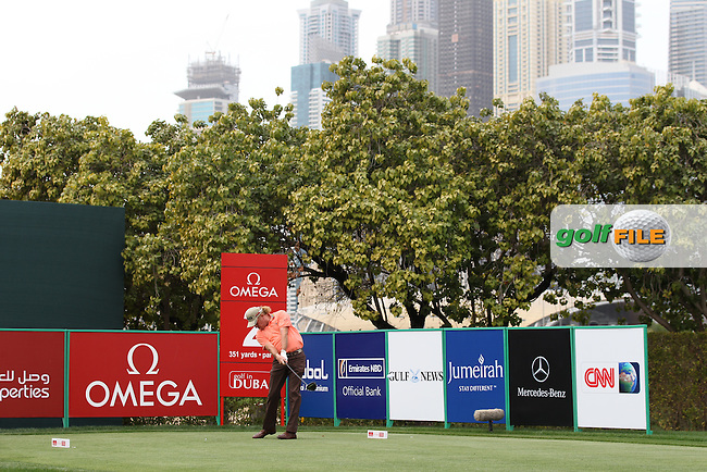 Miguel Angel Jimenez (ESP) tees off on the 2nd tee during Thursday's Round 1 of the 2012 Omega Dubai Desert Classic at Emirates Golf Club Majlis Course, Dubai, United Arab Emirates, 9th February 2012(Photo Eoin Clarke/www.golffile.ie)
