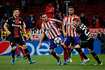 Jorge Resurreccion 'Koke' of Atletico de Madrid and Mitchell Weiser of Bayer 04 Leverkusen during the UEFA Europa League match between Atletico de Madrid and Bayer 04 Leverkusen at Wanda Metropolitano Stadium in Madrid, Spain. October 22, 2019. (ALTERPHOTOS/A. Perez Meca)