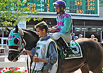 Sloane Ranger (no. 5), ridden by Paco Lopez and trained by Martin Ciresa, before the grade 2 Monmouth Cup Stakes for three year olds and upward on July 07, 2012 at Monmouth Park in Oceanport, New Jersey.  (Bob Mayberger/Eclipse Sportswire)