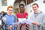 Students from CBS, The Green, who were received top marks in their Junior Cert results were l-r: Joseph Hayes (10 A's) Segun Duyile (8 A's and 2 B's) and Anthony Craig (9 A's and 1 B)
