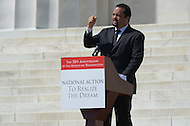 August 24, 2013  (Washington, DC)   Ben Jealous, President of the NAACP, speaks to a crowd of thousands on the grounds of the Lincoln Memorial in the District of Columbia during the 50th anniversary of the 1963 March on Washington August 24, 2013.  (Photo by Don Baxter/Media Images International)