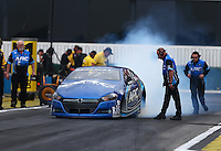 Feb 10, 2017; Pomona, CA, USA; NHRA pro stock driver Alan Prusiensky during qualifying for the Winternationals at Auto Club Raceway at Pomona. Mandatory Credit: Mark J. Rebilas-USA TODAY Sports