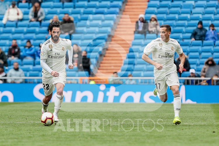 Real Madrid's Francisco Alarcon 'Isco' (L) and Lucas Vazquez (R) during La Liga match between Real Madrid and SD Eibar at Santiago Bernabeu Stadium in Madrid, Spain.April 06, 2019. (ALTERPHOTOS/A. Perez Meca)