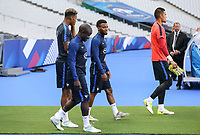 Corentin Tolisso (2nd right) (Lyon) heads out with N'Golo Kante (Chelsea) of France during the France National Team Training session ahead of the match with England tomorrow evening at Stade de France, Paris, France on 12 June 2017. Photo by David Horn / PRiME Media Images.