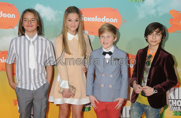 12 March 2016 - Inglewood, California - Mace Coronel, Lizzy Greene, Casey Simpson, Aidan Gallagher. 2016 Nickelodeon Kids' Choice Awards held at The Forum. Photo Credit: Byron Purvis/AdMedia