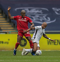Swansea City's Andre Ayen (right) is tackled by Bristol City's Benik Afobe (left) <br /> <br /> Photographer David Horton/CameraSport<br /> <br /> The EFL Sky Bet Championship - Swansea City v Bristol City- Saturday 18th July 2020 - Liberty Stadium - Swansea<br /> <br /> World Copyright © 2019 CameraSport. All rights reserved. 43 Linden Ave. Countesthorpe. Leicester. England. LE8 5PG - Tel: +44 (0) 116 277 4147 - admin@camerasport.com - www.camerasport.com