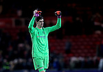 Thibaut Courtois of Chelsea celebrates the win during the English Premier League match at the Riverside Stadium, Middlesbrough. Picture date: November 20th, 2016. Pic Simon Bellis/Sportimage