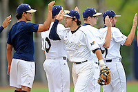16 May 2010:  FIU's Garrett Wittels (10) high-fives with teammates after the FIU Golden Panthers defeated the University of South Alabama Jaguars, 5-0, at University Park Stadium in Miami, Florida.  With his single in the fourth inning, Wittels tied Roger Schmuck (Arizona State, 1971) for third on the NCAA all-time consecutive hitting streak list.