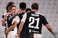 Federico Bernardeschi of Juventus celebrates with team mates after scoring the goal of 2-0 during the Serie A football match between Juventus FC and UC Sampdoria at Juventus stadium in Turin (Italy), July 26th, 2020. Play resumes behind closed doors following the outbreak of the coronavirus disease. <br /> Photo Federico Tardito / Insidefoto