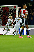 GOAL - EzgjanAlioski of Leeds United celebrates during the Sky Bet Championship match between Brentford and Leeds United at Griffin Park, London, England on 4 November 2017. Photo by Carlton Myrie.