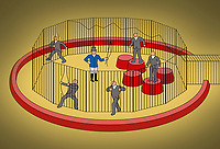 Businessmen escaping from cage ignoring circus ringmaster