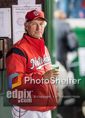 13 October 2016: Washington Nationals Bench Coach Chris Speier looks out from the dugout prior to Game 5 of the NLDS against the Los Angeles Dodgers at Nationals Park in Washington, DC. The Dodgers edged out the Nationals 4-3, to take Game 5 of the Series, 3 games to 2, and move on to the National League Championship Series against the Chicago Cubs. Mandatory Credit: Ed Wolfstein Photo *** RAW (NEF) Image File Available ***