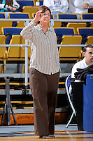 11 November 2011:  FIU Women's Basketball Head Coach Cindy Russo signals to her players during the first half as the FIU Golden Panthers defeated the Jacksonville University Dolphins, 63-37, at the U.S. Century Bank Arena in Miami, Florida.