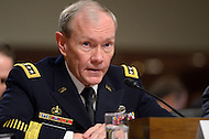 February 14, 2012  (Washington, DC)  Chairman of the Joint Chiefs of Staff, General Martin Dempsey testifies during a Senate Armed Services Committee hearing regarding the FY2013 defense budget.   (Photo by Don Baxter/Media Images International)