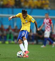 Neymar of Brazil scores a goal to make the score 1-1