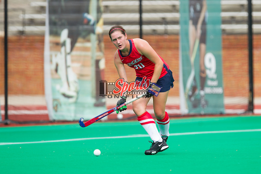 Allison Haas (20) of the Richmond Spiders looks to pass the ball during overtime against the Wake Forest Demon Deacons at Kentner Stadium on September 29, 2013 in Winston-Salem, North Carolina.  The Demon Deacons defeated the Spiders 1-0 in overtime.  (Brian Westerholt/Sports On Film)
