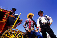 cowboys with red horse carriage Tombstone wild west   outdoor museum in Arizona, USA