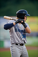 Hudson Valley Renegades Jacson McGowan (34) at bat during a NY-Penn League game against the Mahoning Valley Scrappers on July 15, 2019 at Eastwood Field in Niles, Ohio.  Mahoning Valley defeated Hudson Valley 6-5.  (Mike Janes/Four Seam Images)