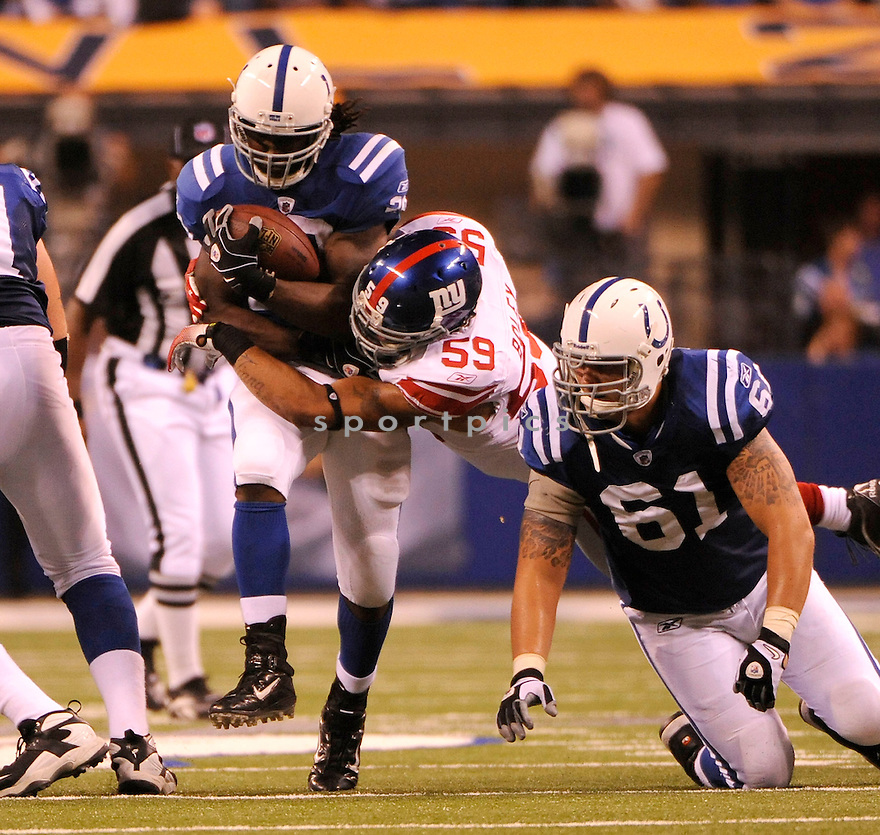 JOSEPH ADDAI, of the Indianapolis Colts, in action during the Colts game against the New York Giants on September 19, 2010 in Indianapolis, Indiana...The Colts win 38-14