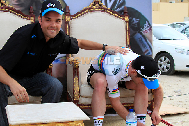 Press Officer Nick with World Champion Mark Cavendish (GBR) Sky Procycling winning at the end of the 3rd Stage of the 2012 Tour of Qatar from Dukhan to Al Gharafa Stadium, Doha, Qatar, 7th February 2012 (Photo Eoin Clarke/Newsfile)