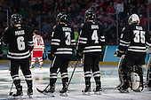Tom Parisi (PC - 6), John Gilmour (PC - 3), Mark Adams (PC - 4), Nick Ellis (PC - 35) - The Providence College Friars defeated the Boston University Terriers 4-3 to win the national championship in the Frozen Four final at TD Garden on Saturday, April 11, 2015, in Boston, Massachusetts.