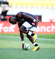 Madosh Tambwe of the Cell C Sharks during the Super Rugby match between the Hurricanes and the Cell C Sharks at Sky Stadium in Wellington, New Zealand on Saturday, 15 February 2020. Photo: Steve Haag / stevehaagsports.com