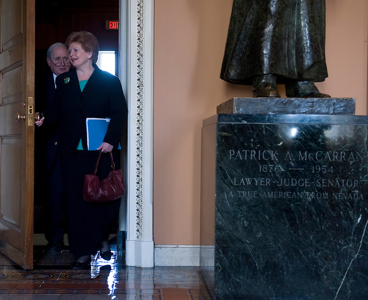 Sen. Carl Levin, D-Mich., and Sen. Debbie Stabenow, D-Mich., leave the Senate Democrats' Policy Committee lunch on Tuesday, March 8, 2010.