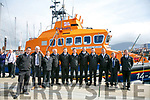 Crew Finbar O'Connell, Cian O'Donnell,John  Moriarty, Denice Lynch, Kevin Moriarty, Tony Stack, Lee Sugrue, Aaron Williams, Kieran Bolt, Kevin Honeyman, Terry Sheehy, waiting for Prince Edward, Duke of Kent, who visited  the RNLI Lifeboat station in Fenit on Tuesday
