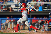 Williamsport Crosscutters shortstop Grenny Cumana (2) at bat during a game against the Batavia Muckdogs on July 15, 2015 at Dwyer Stadium in Batavia, New York.  Williamsport defeated Batavia 6-5.  (Mike Janes/Four Seam Images)
