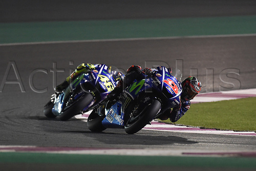 March 26th 2017, Doha, Qatar; MotoGP Grand Prix Qatar; Maverick Vinales (movistar Yamaha) on his way to winning the race