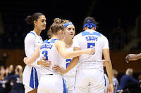 DURHAM, NC - NOVEMBER 29: Haley Gorecki #2 of Duke University huddles with her teammates during a game between Penn and Duke at Cameron Indoor Stadium on November 29, 2019 in Durham, North Carolina.