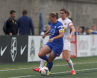 Allston, Massachusetts - August 3, 2014:  In a National Women's Soccer League (NWSL) match, Western New York Flash (white) defeated Boston Breakers (blue), 4-3, at Harvard Stadium.