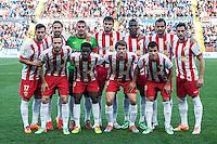 Almeria team at Levante U.D. 1 - 0 Almeria C.F. in BBVA League match played at the Ciudad de Valencia stadium (Valencia). Scoreboard: Barral for Levante. (photo: Francesc Juan)