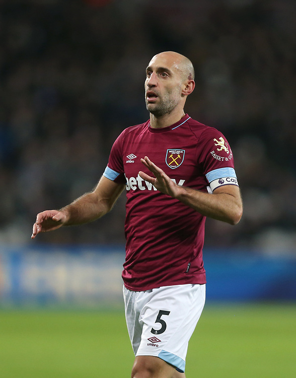 West Ham United's Pablo Zabaleta<br /> <br /> Photographer Rob Newell/CameraSport<br /> <br /> The Premier League - West Ham United v Brighton and Hove Albion - Wednesday 2nd January 2019 - London Stadium - London<br /> <br /> World Copyright © 2019 CameraSport. All rights reserved. 43 Linden Ave. Countesthorpe. Leicester. England. LE8 5PG - Tel: +44 (0) 116 277 4147 - admin@camerasport.com - www.camerasport.com